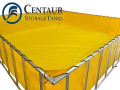 Centaur Frame Tanks for temporary water storage during a swimming pool leak repair project